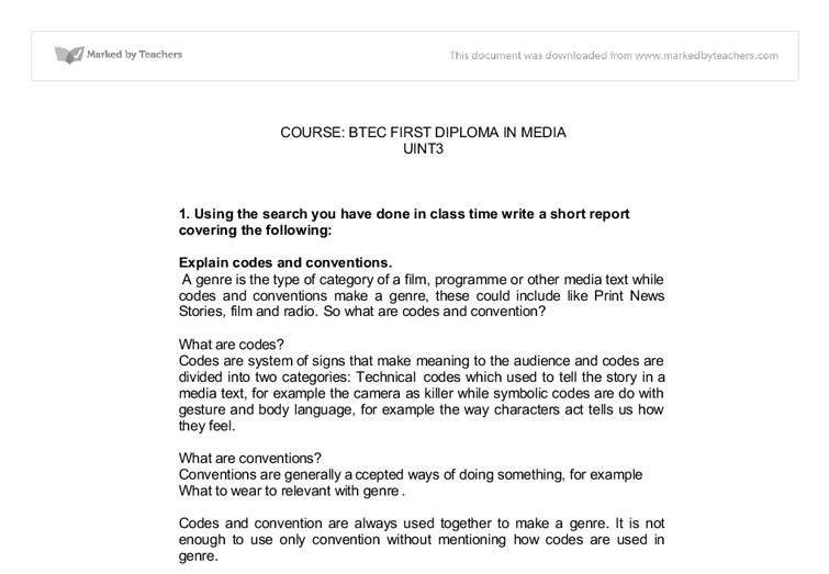 Explain Codes And Conventions In The Media Gcse Media Studies