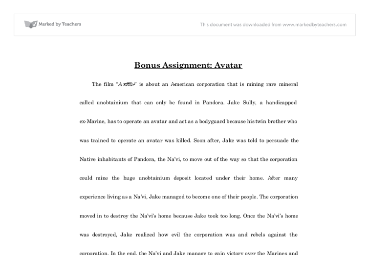 Avatar film review essay sample
