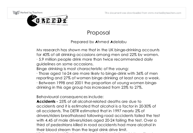 proposal template binge drinking gcse media studies marked  document image preview