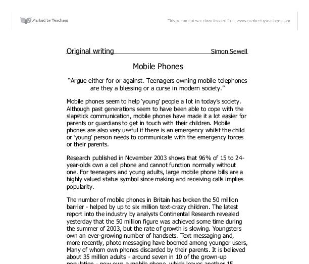 For and against essay mobile phones