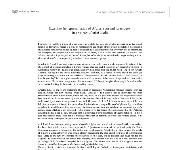 "examine the representation of afghanistan and its refuges in a variety of print media essay ""refugee voices,"" new social media, and politics of representation:  founded  in 1981, refuge is an interdisciplinary journal published by the centre for  refugee studies, york  though scholarly publications, print media, and other  aes-  mcquaid examines how congolese refugees remake their."