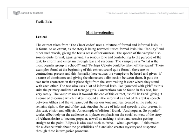 mini investigation on the cheerleader and dracula essay Free essay: from an outsiders perspective one may see brainless and beautiful  robots  many people are under the impression that cheerleading is not a sport.