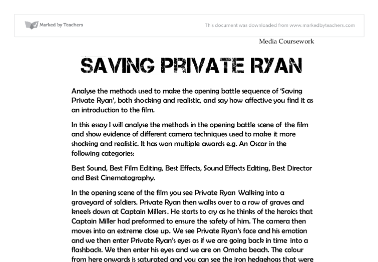 saving private ryan year english gcse media studies  document image preview