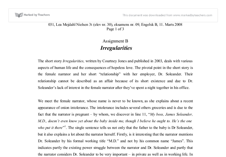 irregularities courtney jones essay Analysis of the short story irregularities by courtney jones  f r hun abort  lunefuld write an essay (700-1000 words) in which you analyze and interpret the .