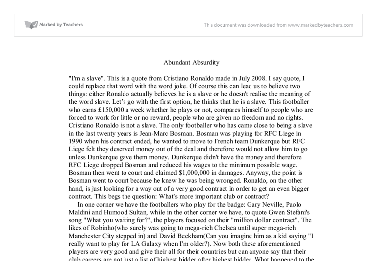 absurdity essay The absurdity of man essays: over 180,000 the absurdity of man essays, the absurdity of man term papers, the absurdity of man research paper, book reports 184 990 essays, term and research papers available for unlimited access.