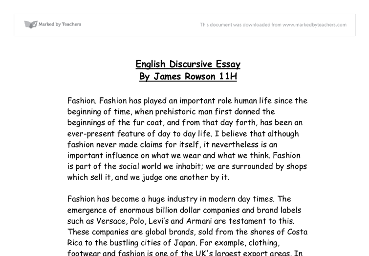 gcse essays informative writing gcse english marked by teachers  fashion english discursive essay gcse miscellaneous marked document image preview