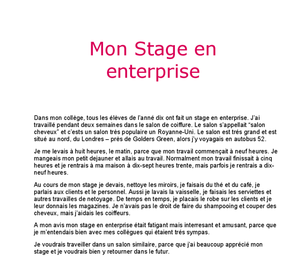French essay mon stage en enterprise gcse modern foreign