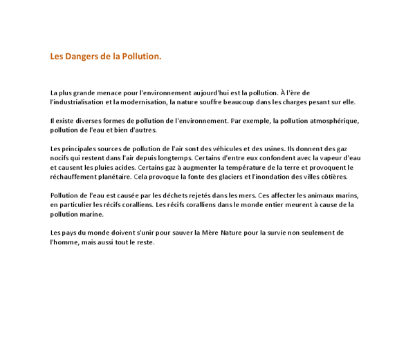 las dangers de la pollution gcse modern foreign languages  document image preview