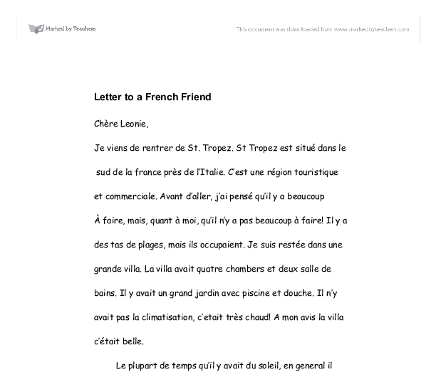 letter to a french friend gcse modern foreign languages marked document image preview