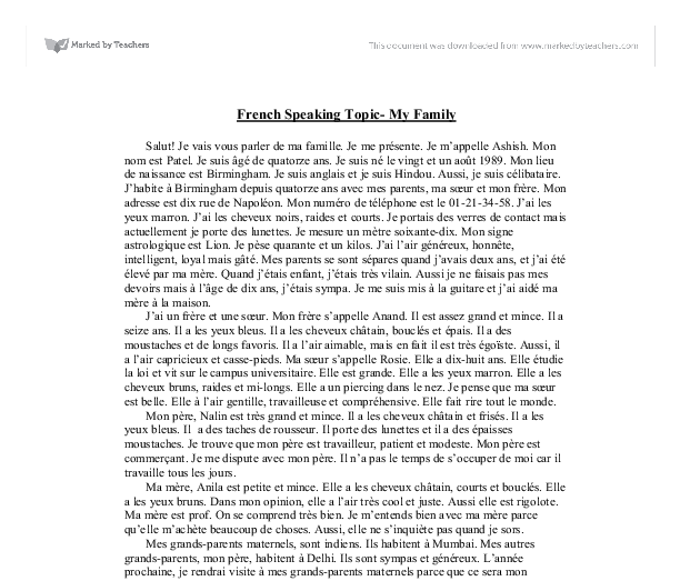 french speaking topic my family gcse modern foreign languages document image preview