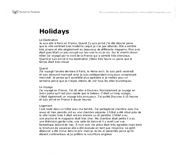 german essay on holidays
