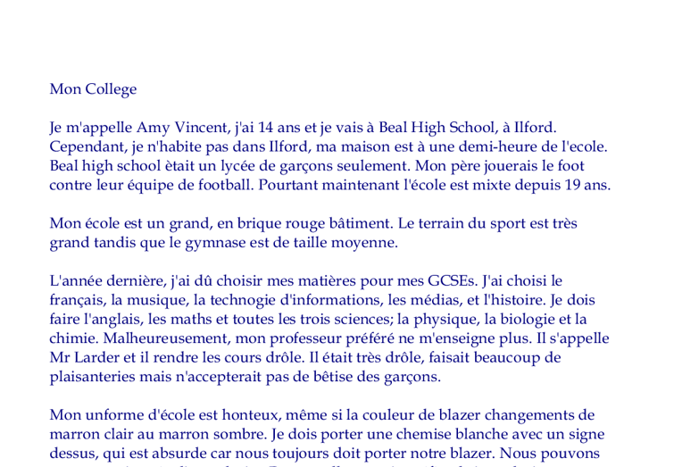 essay about myself in french If you're just starting out learning french, one of the first things you'll be asked to do is to describe yourself whether you're learning to say your name, express your state of being or use adjectives to describe yourself, this is the most basic of tasks when speaking french start off with je .