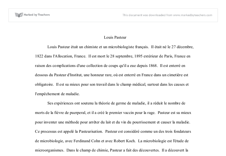 Essay on louis pasteur