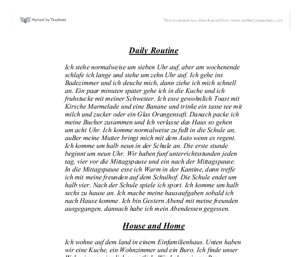 my room essay in german