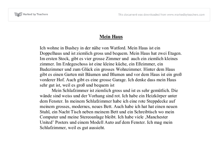 Mein haus essay in german