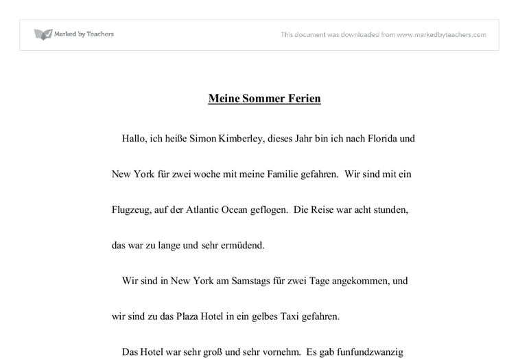 meine sommerferien essay Meine sommerferien essay about myself, creative writing uvm, 1 000 creative writing prompts i just finished writing the intro to my 5 page essay.
