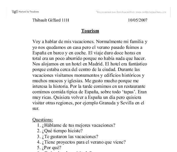 Beginner Spanish short essay