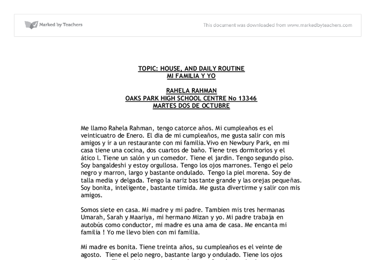 Essay in spanish