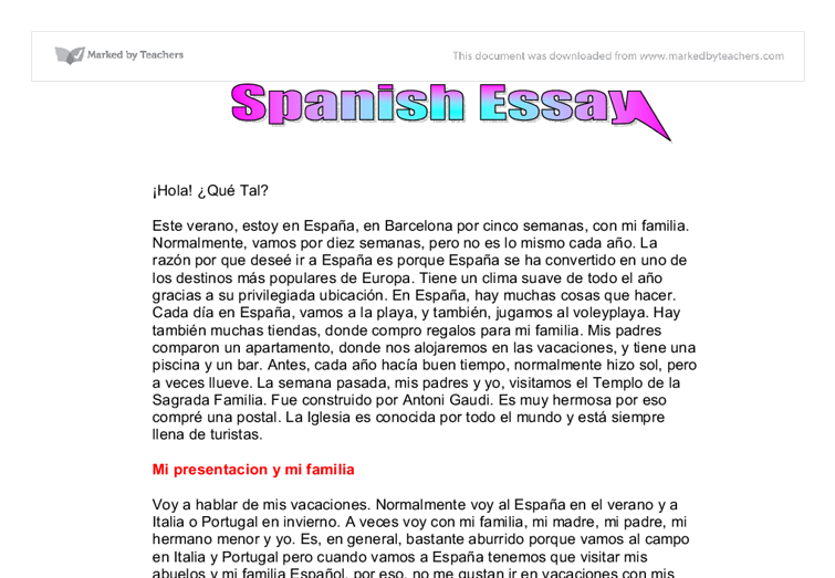 spanish essay on family Please note: this course is being removed july 1st there is an updated spanish i course available you can switch at any time, but there are differences in the grading sheets updated spanish 1 course if you come across a broken link, please switch to the updated course credits: 1 recommended.
