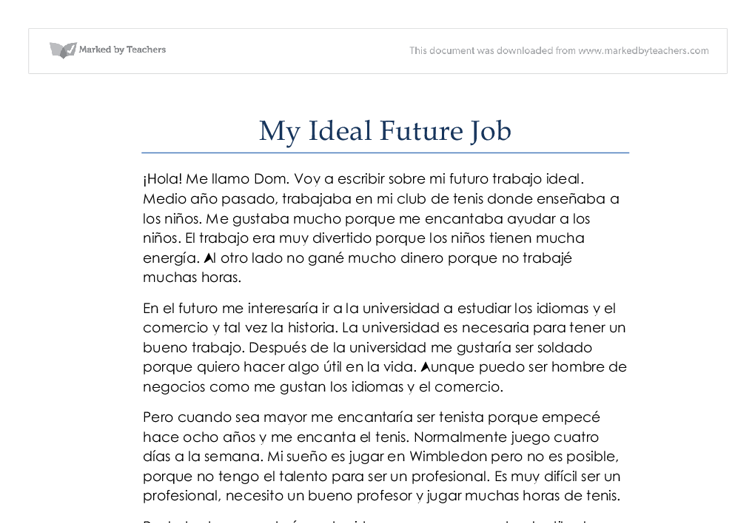 My Ideal Job Essay | Bartleby