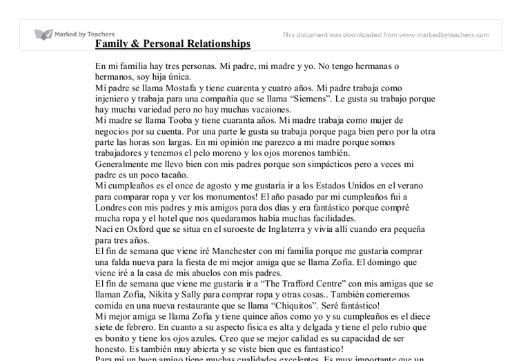essay about my family in spanish Free german essays on family: meine familie free german essay on my school: learn spanish by watching telenovelas—beginner to advanced.