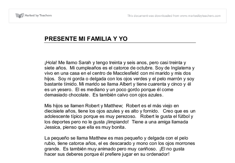 Short essay about family in spanish