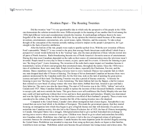 the roaring 20 s essay example The roaring 20's dbq essay examples 1523 words | 7 pages expected at angelus temple 1850's dbq essay in a government where sectional interests and feelings may come into conflict, the.