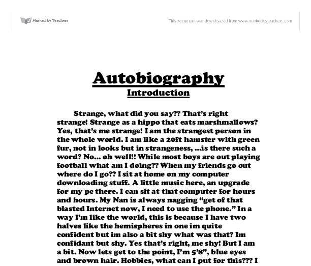 Sample Student Autobiography Essay