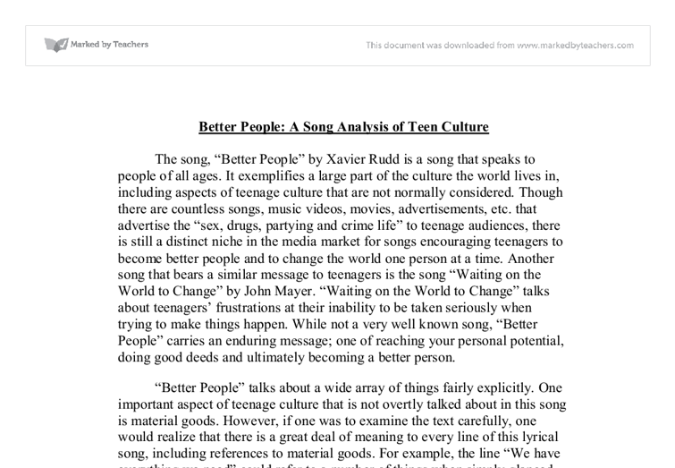 essay on song analysis I went to look up the lyrics in part because you don't quote a lot of the song in your essay (even in the context of our analysis of a certain time and our.