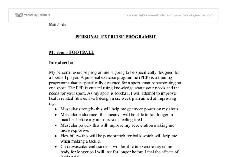 gcse pe coursework personal exercise programme Physical education gcse edexcel course description personal exercise programme after studying gcse pe the following key stage 5 courses are offered at birchwood.