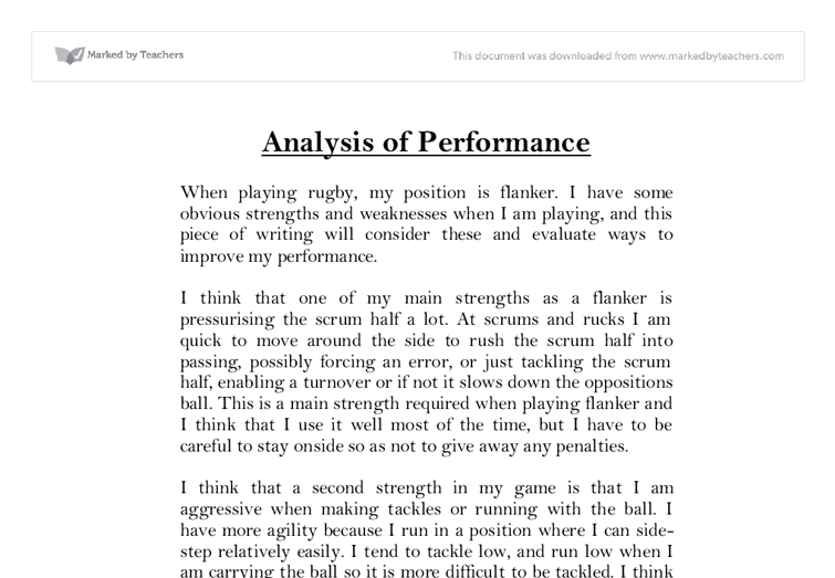 gcse pe coursework analysis of performance