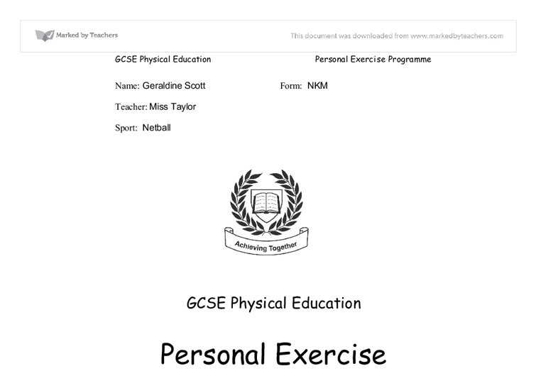 personal exercise plan coursework
