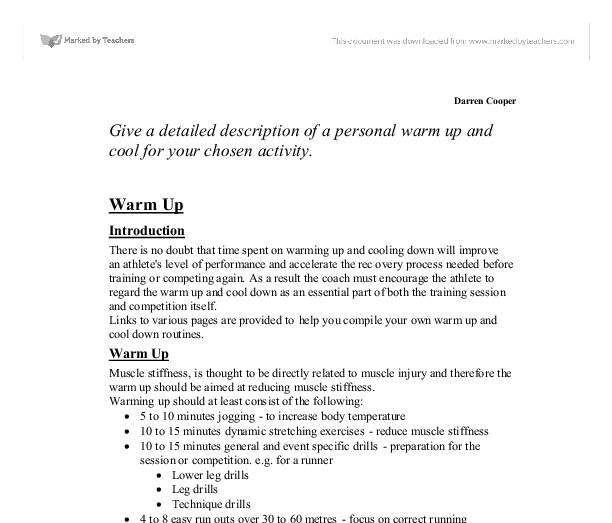 description of personal warm up essay Expository writing warm-up processing information as a student, you  write  down the personal  examples are from the student essay on pages 177–180.
