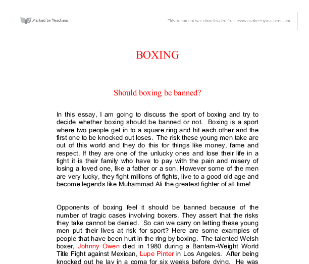Arguments For and Against Banning Boxing