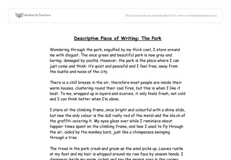 Descriptive Piece of Writing: The Park - GCSE Physical Education ...