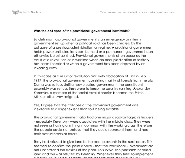 provisional government essay Lenins leadership essay lenins leadership essay submitted by alexandra-evans words: 1172  overturning the provisional government in the second revolution of.