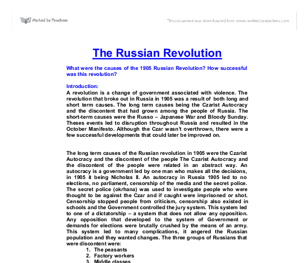 russian revolution essays Name of student: topic: lecturer: date of presentation: the russian revolution  marxist socialists in their critique of capitalism predicted that the only way.