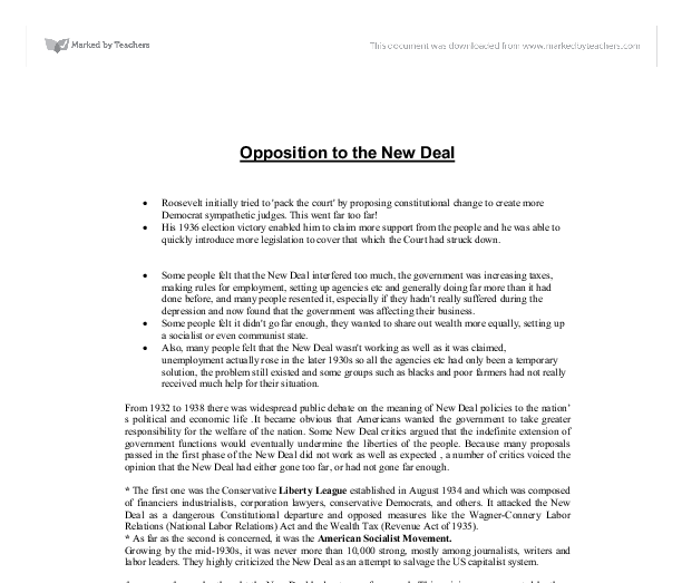 opposition to the new deal essay
