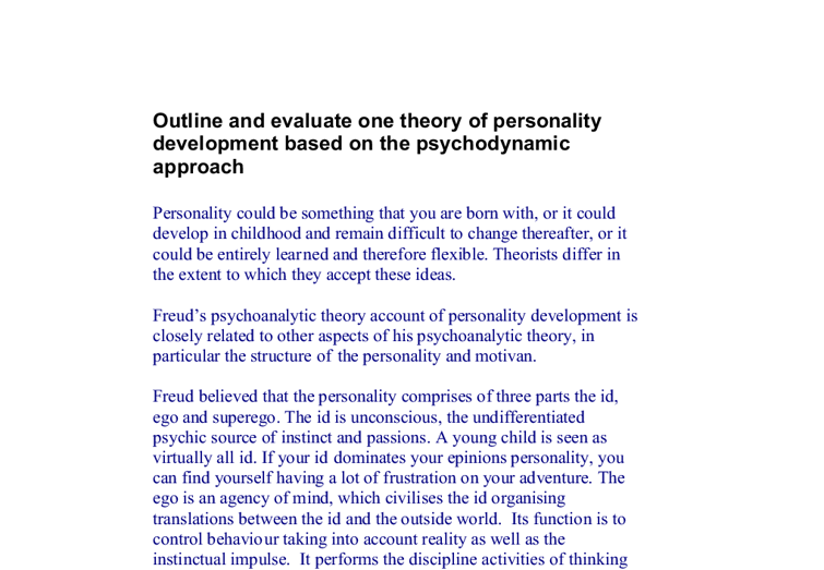 write an essay on personality development Free sample essay on personality development the word 'personality' is a broad term it combines in itself the characteristics and qualities which.
