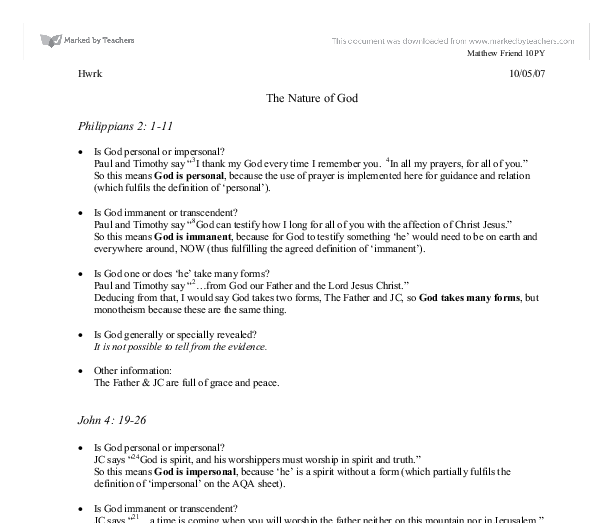 News student essay on god