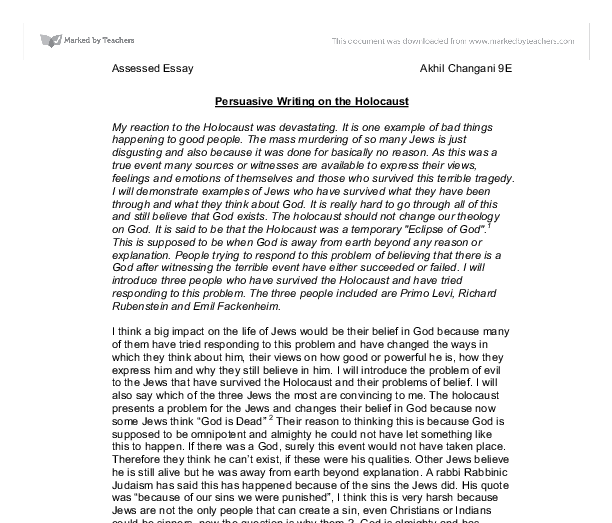 persuasive essay about the holocaust Creative writing essay: imagine you are in the holocaust (2009, august 20) in writeworkcom retrieved 13:54, april 16, 2018, from more creative writing the art of persuasive speaking speaking is a very.