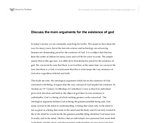 argumentative essay on existence of god View notes - week 5-final argumentative paper from phi 208 at ashford  university running head: existence of god 1 the existence of.
