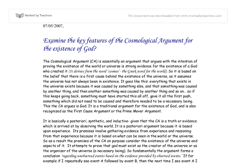 the cosmological argument essay As religious studies revision: the cosmological argument ao1 material: ie 'what goes in part a)' a) explain the cosmological argument (25.