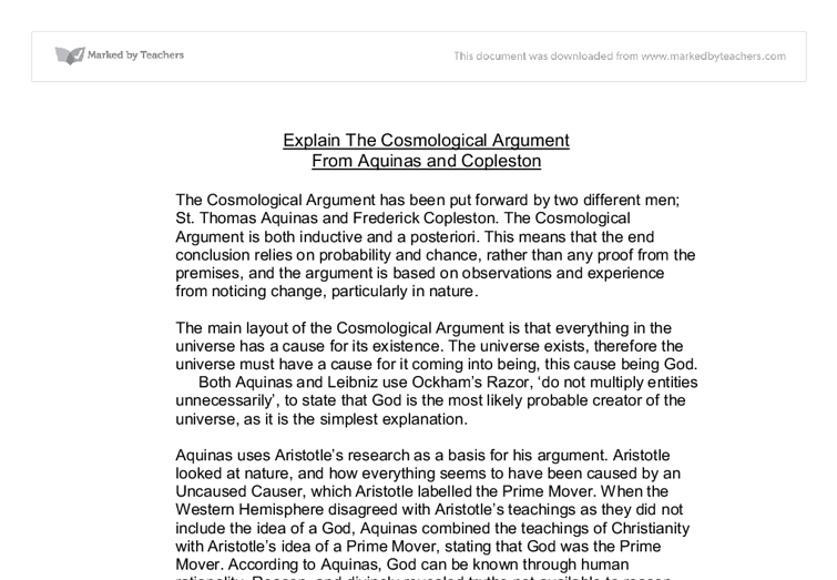cosmological argument essays The cosmological argument is less a the traditional cosmological arguments consider these options and (eds), 1955, new essays in philosophical.