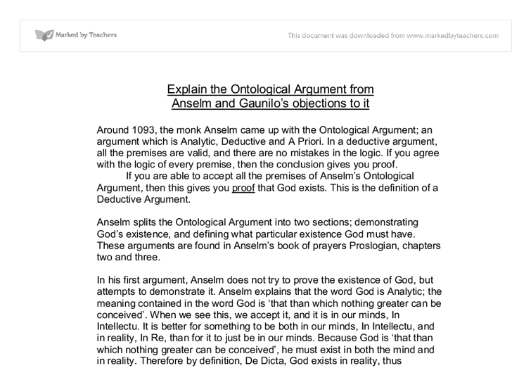 explain the ontological argument from anselm and gaunilo s  document image preview