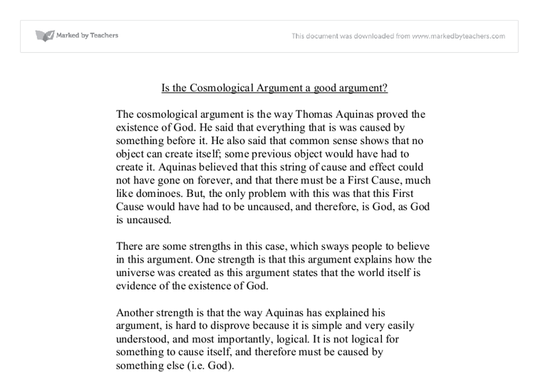 Explain Hume's criticisms of the cosmological argument