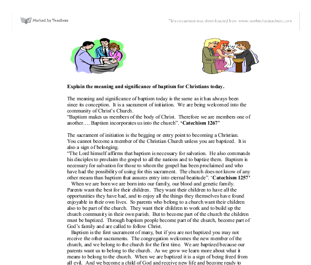 Meaning and significance of baptism for Christians today Essay Sample