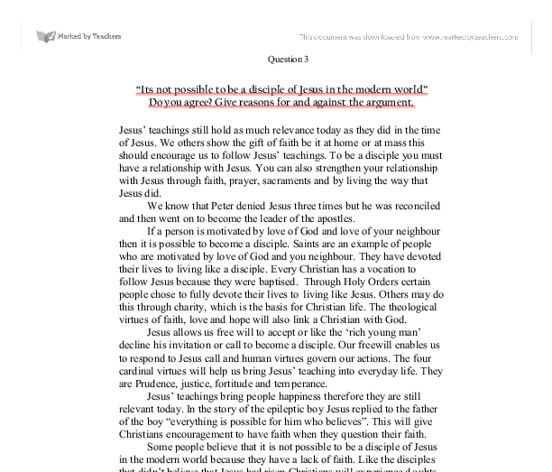 it is not possible to be a disciple of jesus in the modern world essay The making of a disciple  disciple-apostle-martyr a historical and theological essay,  and even faith it may also be possible that in 1:43 jesus simply.