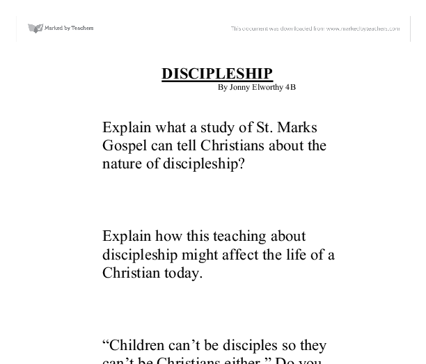 marks gospel and nature of discipleship essay This second article in our series on the nature of discipleship will continue to  explore the two different  in these gospels peter serves as the vehicle for  matthew and mark's message and the point  a historical and theological  essay, trans.