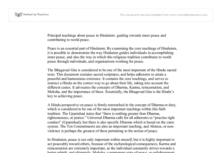 hinduism and peace gcse religious studies philosophy ethics  document image preview